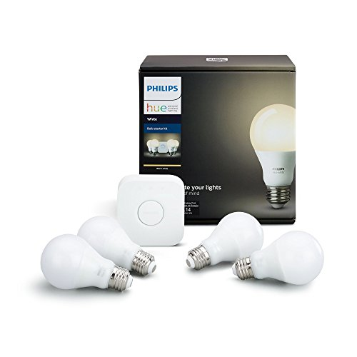 Remote Control Anywhere Kit - Philips Hue White A19 60W Equivalent LED Smart Bulb Starter Kit (4 A19 White Bulbs and 1 Hub Compatible with Amazon Alexa Apple HomeKit and Google Assistant)