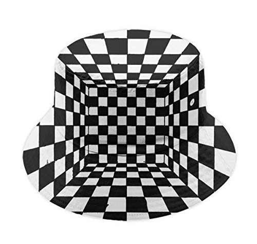 YongColer Men Women Bucket Hat Outdoor Travel Fisherman Cap - Trippy Race Checkerboard