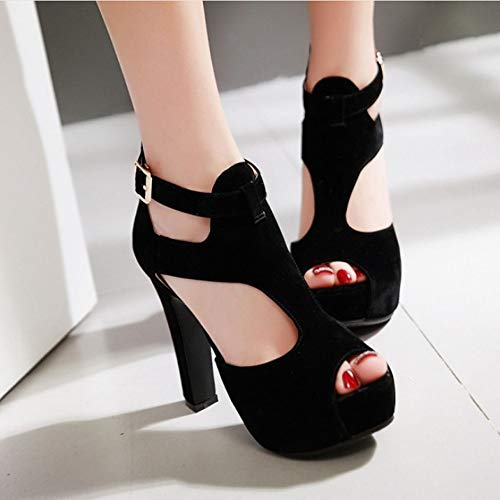 Gladio Cava Tacco Scarpe Caviglia Alto Alla A 37 Con Black E Plateau Zl Cavigliera Cinturino Da 46 Donna Wqf17nxpY