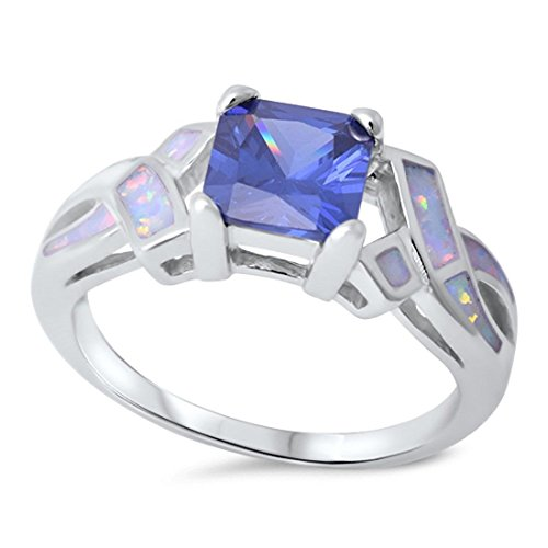 Blue Apple Co. Accent Shank Wedding Ring Princess Cut Simulated Tanzanite Lab Created White Opal 925 Sterling Silver