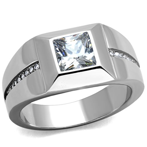 Men's Stainless Steel 316 Cushion Cut Cubic Zirconia Flush Setting Ring Size 10