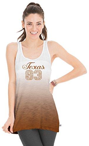 (Venley NCAA Texas Longhorns Women's Jess Dip Dye Tank Top, Large, Texas Orange)