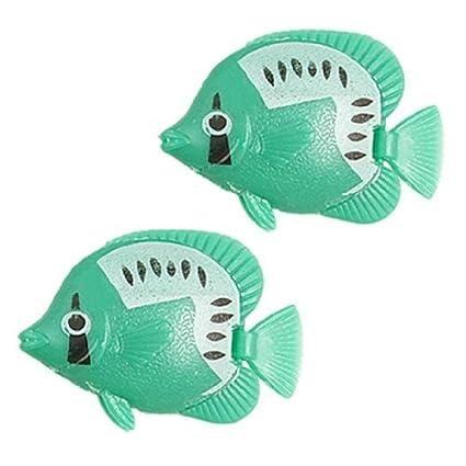 Amazon.com: eDealMax 2-pieza de plástico acuario de simulación Adorno de peces, Verde: Pet Supplies