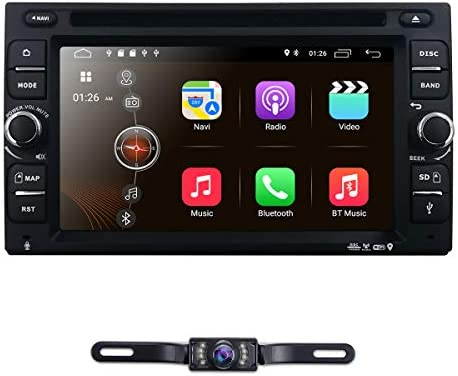 hizpo Android 9.0 Double Din Car Stereo Radio 6.2 Inch Touch Screen in Dash GPS Navigation Support WiFi Bluetooth Mirror Link SWC OBD with Free Backup Camera