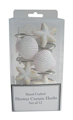 Twofishes 12 PCS Fashion Decorative Home Bathroom Sea Ocean Style Seashell Shower Curtain Hooks Rings (Seashell: White; Starfish:White ; Conch:White ) - Shower Curtain With Seashells