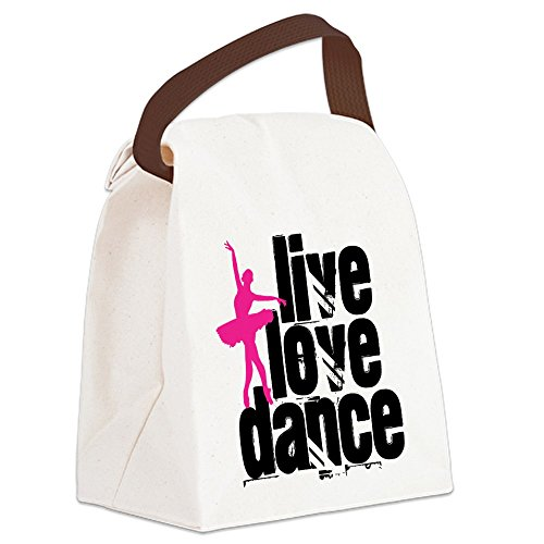 CafePress - Live, Love, Dance with Ballerina Canvas Lunch Bag - Canvas Lunch Bag with Strap Handle