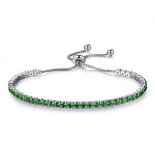 MONIYA Adjustable Women Cubic Zirconia Tennis Bracelet Wedding Engagement Simulated Birthstone Jewelry -