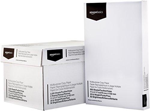 AmazonBasics 92 Bright Multipurpose Copy Paper - 11 x 17 Inches, 5 Ream Case (2,500 - Paper 17 11 X