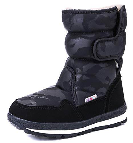 DADAWEN Girl's Boy's Waterproof Outdoor Cold Weather Snow Boots (Toddler/Little Kid/Big Kid) Black US Size 13 M Little Kid (Boots Girls For Footwear)