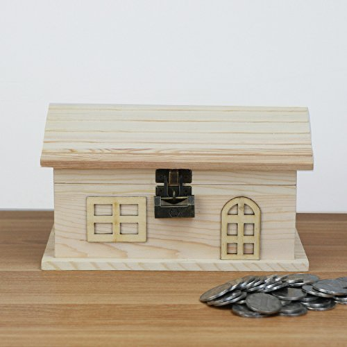 Solid wood lock change piggy bank, Banknote coin storage tank Cute house birthday gift-A by QIHUDEBHF