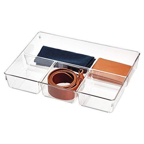 iDesign Caja organizadora para armario o tocador, bandeja organizadora pequena de plastico, organizador de cajones con 4 compartimentos para accesorios, transparente