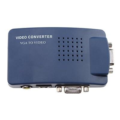 AGPtek High Resolution Video VGA Conversion VGA to RCA Composite/S-Video Converter Box (Blue)