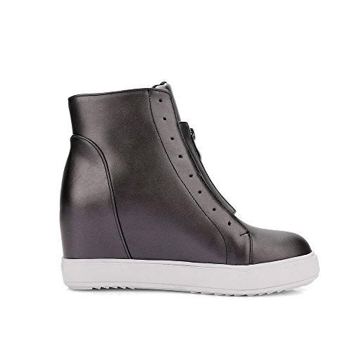 AmoonyFashion Womens Solid High Heels Round Closed Toe PU Zipper Boots Gray LOxgWdrZ