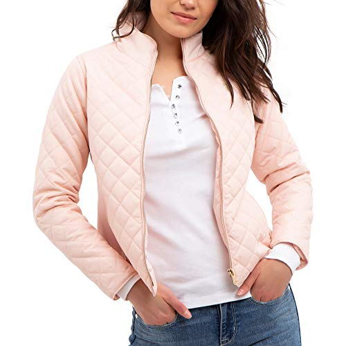 U.S. Polo Assn. Womens Quilted Side Knit Midweight Jacket - Blush Pink, Extra Large
