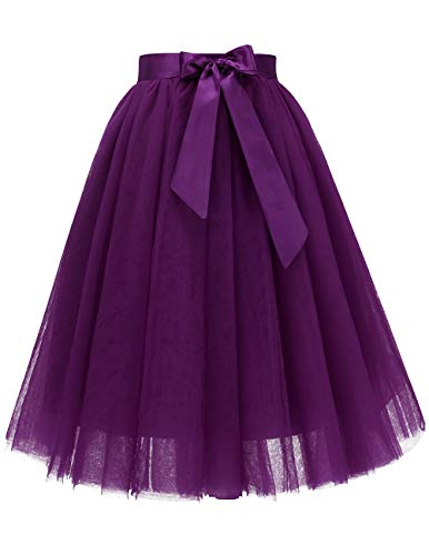 (Bridesmay Women's Knee Length 5-Layered Tulle A-line Tutu Skirt Evening Party Prom Skirt Grape)