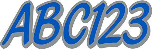 Whipline Solid Blue Silver 3  Alpha Numeric Registration Identification Numbers Stickers Decals For Boats   Personal Watercraft