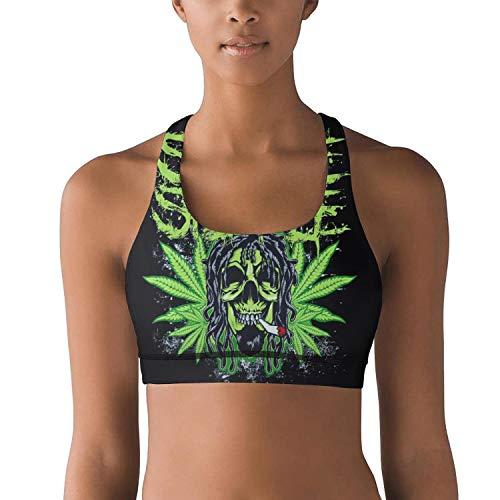 - Women Yoga Bra Weed Cannabis Marijuana Smoking Skull Shock Absorber Comfortable Cool Dance Shirts