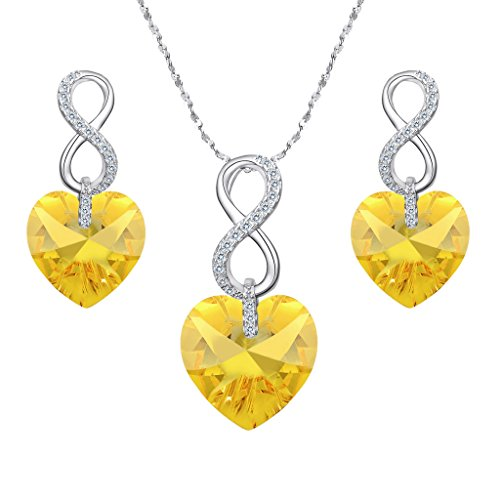 EVER FAITH 925 Sterling Silver CZ Infinity Heart Jewelry Set Yellow Adorned with Swarovski Crystals