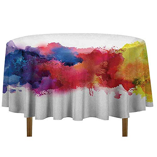 Douglas Hill Abstract Easy Care Leakproof and Durable Tablecloth Vibrant Stains of Watercolor Paint Splatters Brushstrokes Dripping Liquid Art Outdoor Picnic D35 Inch Red Yellow Blue ()