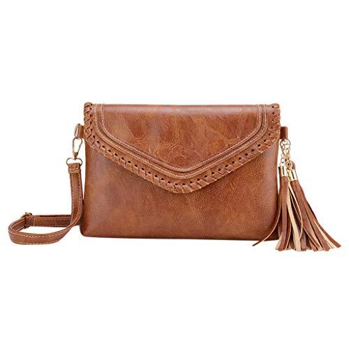 Fashion Small Shoulder Bag Satchel with Adjustable Strap for Women,Hasp Solid Color Tassel Messenger Phone Bag