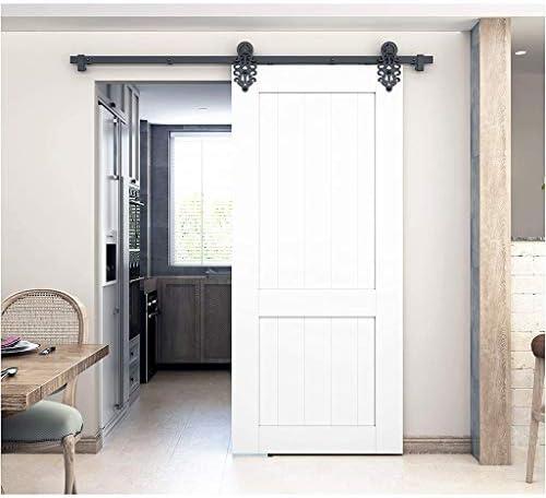 ドアレールハードウェアセット 150-300cm納屋のドアスライディングドアの完全なハードウェアキット、プロの寝室のプッシュおよびプルドアハンギングレールトラックアクセサリー (Size : 8ft/244cm single door kit)
