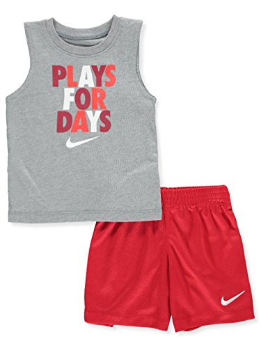 NIKE Baby Boys' 2-Piece Short Set Outfit - unviersity red, 18 Months