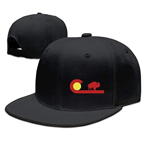 YCTBHATS Unisex Adjustable Hat Flat-Brim Baseball Cap + Dad Hat + Baseball Hat - Colorado Buffalo State Flag (Baseball Colorado Buffaloes)