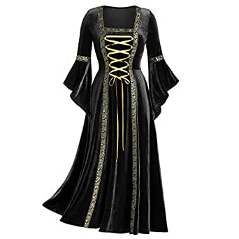 Ausexy Womens Women's Gothic Punk Style Long Sleeve Tie with Gold Velvet Dress Robe for Christmas Halloween Cosplay Costumes Black