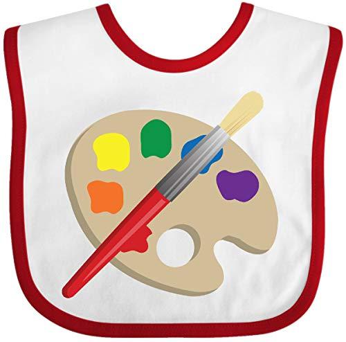 (Inktastic - Artist Palette and Brush Baby Bib White/Red)