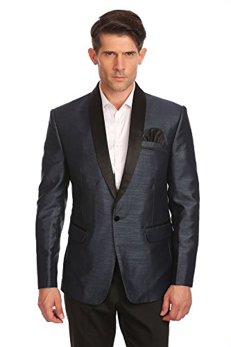 WINTAGE Men's One Button Shawl Collar Party Black Blazer Coat,Small / ()