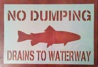 No Dumping Drains to Waterway Stencil