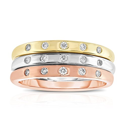 Noray Designs 14K White, Yellow & Rose Gold (0.18 Ct,G-H,SI2-I1 Clarity) Stackable Ring Set. Sizes 4 to 9 by Noray Designs