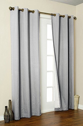 LuxuryDiscounts 2 Piece Solid Gray FAUX SILK BLACKOUT Grommet Window Panel Curtain Drapes with Foam Backing – 38″W x 84″L