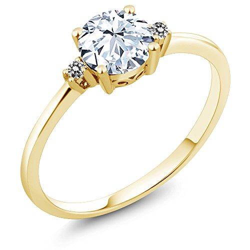 Real Solitaire - 10K Yellow Gold Engagement Solitaire Ring set with 1.23 Ct White Created Sapphire and White Diamonds (Size 7)
