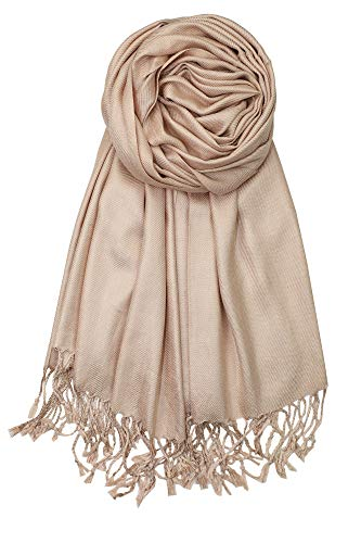 (Achillea Soft Silky Solid Pashmina Shawl Wrap Scarf for Wedding Bridesmaid Dress (Tan))