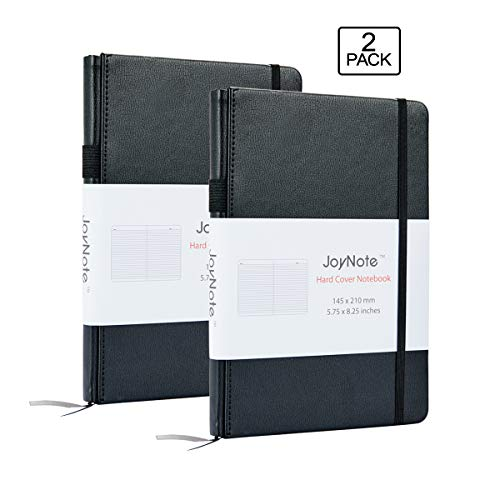 JoyNote A5 Ruled Notebooks with Pen Holder, 2 Pack Thick Classic Hardcover Writing Notebook and Journals with Pocket, 80 Sheets/160 Pages, 5.75 x 8.25 inches]()