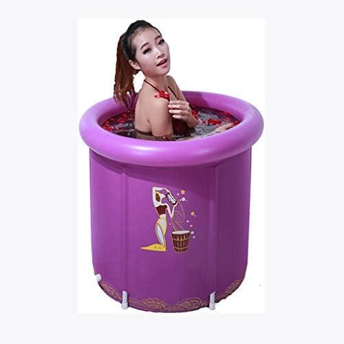 SBWFH 紫折り畳み式のバスタブ - ポータブルプラスチックバスタブ、肥厚ポータブル暖かいノンスリップバスタブ