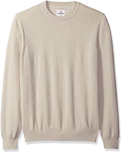 Ben Sherman Men's Chevron Texture Crew Neck, Silver/Grey, XXL