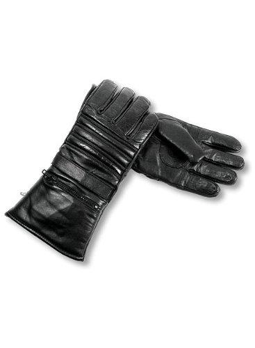 Interstate Leather Men's Basic Gauntlet Gloves (Black, (Mens Padded Leather Gauntlet Gloves)