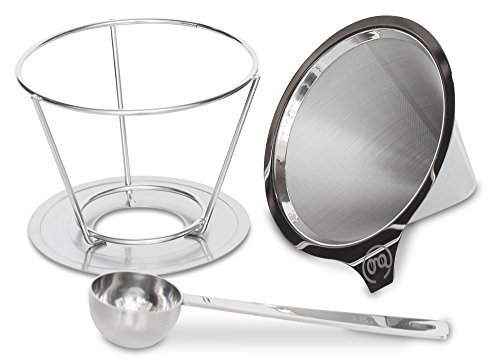 Pour Over Coffee Dripper with FREE Scoop and eBook Brewing Guide by Grand Central Coffee Co. - Stainless Steel Fine Mesh Reusable Paperless Filter 2 Cup Cone and Stand (Best Dishwasher Buying Guide)