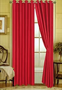 Amazon Com Two Bright Red Faux Silk Grommet Window Panel