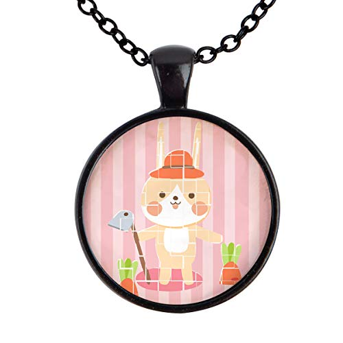 FOREVER 20 Rabbit Hoe Carrot and Stripe Pattern Pendant Necklace Alloy Glass Cabochon Jewelry Necklaces for Girls and Women (Black) ()