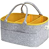 "CozyCaddy Grey Nursery Diaper Organizer Caddy| Store Clothes, Teething Toys and More | Outdoors | Baby Shower Gift | 14"" X 10"" X 7"" Larger Sturdy Bottom 