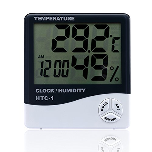 Fypo Thermo Hygrometer Alarm Clock, Indoor Digital Humidity Monitor Stand & Hanging Large LCD Display Screen Works in Celsius & Fahrenheit for Home Living Room Office - White