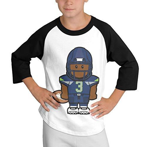 Wordsto Teens Baseball Jersey Russell-Wilson-3-Cartoon 3/4 Sleeve Raglan Baseball T-Shirt Black