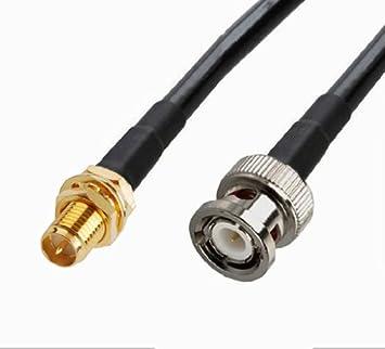 2pcs RF Cable coaxial RP-SMA hembra a macho BNC RG58 12 pulgadas ...