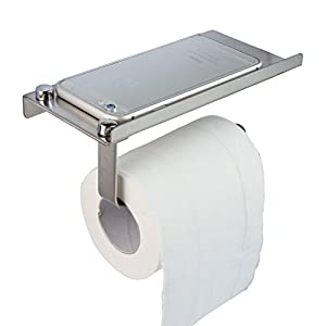 Taydee Toilet Roll Holder with Shelf Wall Mounted Brushed