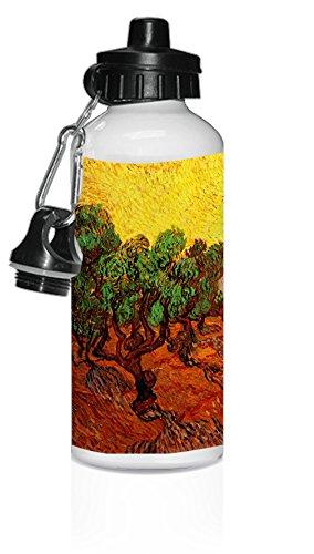 Olive Trees Yellow Sky Sun (Van Gogh) White Aluminum Water Bottle