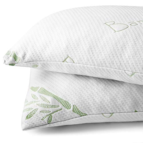Bare Home Luxury Shredded Memory Foam Pillow - Removable, Breathable & Cool, Hypoallergenic Premium Bamboo Cover - Fully Adjustable Support - (Standard, 1-Pack) ()