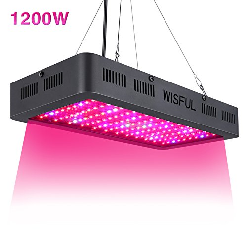 Led Grow Light Full Spectrum 1200W, Double Chips Growing Lamps with UV & IR Indoor Plants Grow Lights with Protective Sunglasses for Greenhouse Hydroponic Veg and Flower by Wisful